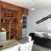 Vue ensemble canapé + mur bois